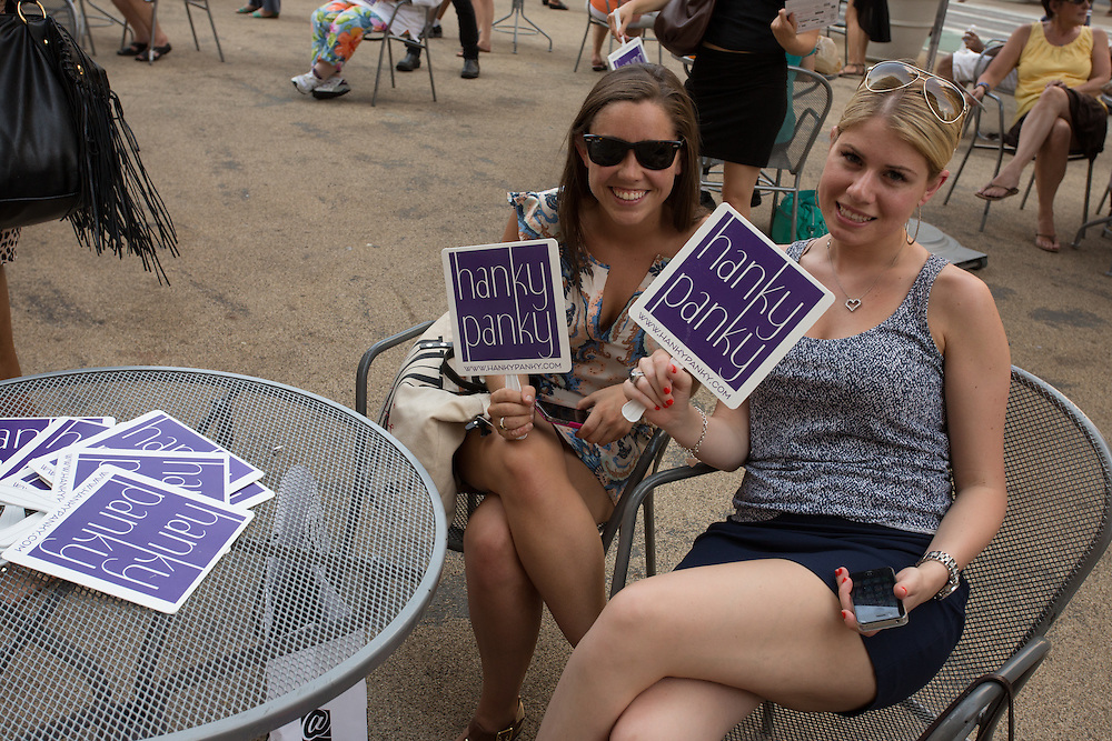 Hanky Panky fans on display in the pedestrian plaza beside the Flatiron Building prior to the performance.