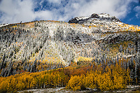 First snow of the autumn season on Hayden Mountain.  Viewed from along the Million Dollar Highway near Crystal Lake in the San Juan Mountains.   Colorado.