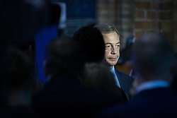 © Licensed to London News Pictures . 05/06/2014 . Newark , Nottinghamshire , UK . Nigel Farage of UKIP is interviewed for TV . The count for the Newark by-election at Kelham Hall , Newark , this evening (Thursday 5th June 2014) . Photo credit : Joel Goodman/LNP