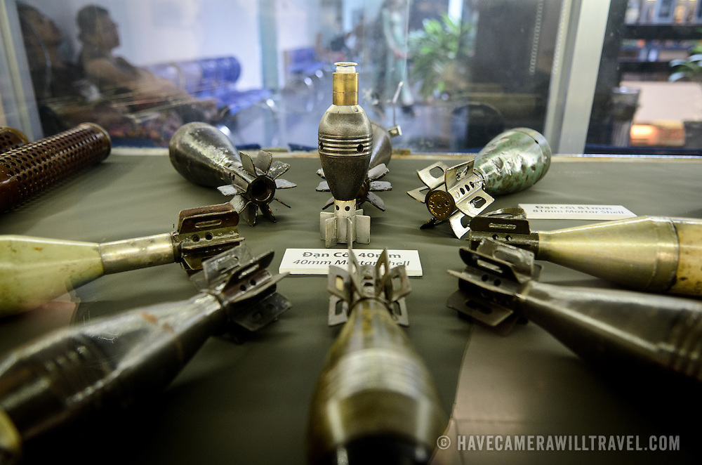 A collection of shells and weapons from the Vietnam War on display at the War Remnants Museum in Ho Chi Minh City (Saigon), Vietnam.