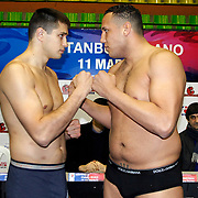 Istanbulls Oleksiy SIVKO (L) and Milano Thunder Benjey ZIMMERMAN (R) boxers seen during their Presentation and the weighing ceremony matchday 5 of the World Series of Boxing at Ayhan Sahenk Arena in Istanbul, Turkey, Thursday, March 10, 2011. Photo by TURKPIX
