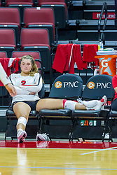 BLOOMINGTON, IL - August 13: Katelyn Lefler during a college Women's volleyball Scrimmage of the Illinois State Redbirds on  August 13 2021 at Illinois State University in Normal, IL. (Photo by Alan Look)