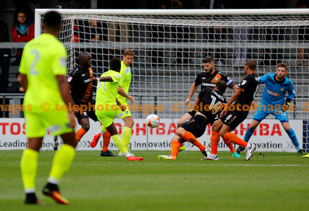 Colchester United's Tarique Fosu-Henry makes it 1-0 during the Sky Bet League 2 match between Barnet and Colchester United at Underhill Stadium in London. September 17, 2016.<br /> Carlton Myrie / Telephoto Images<br /> +44 7967 642437