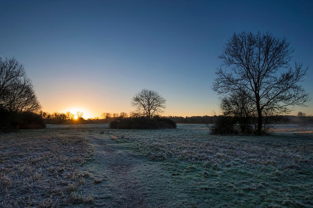 Winter dawn over Cow Common, Chilbolton, Hampshire.