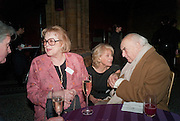 LADY ANTONIA PINTER; ANNE SEBBA; LORD WEIDENFELD, Orion Authors' Party celebrating their 20th anniversary. Natural History Museum, Cromwell Road, London, 20 February 2012.