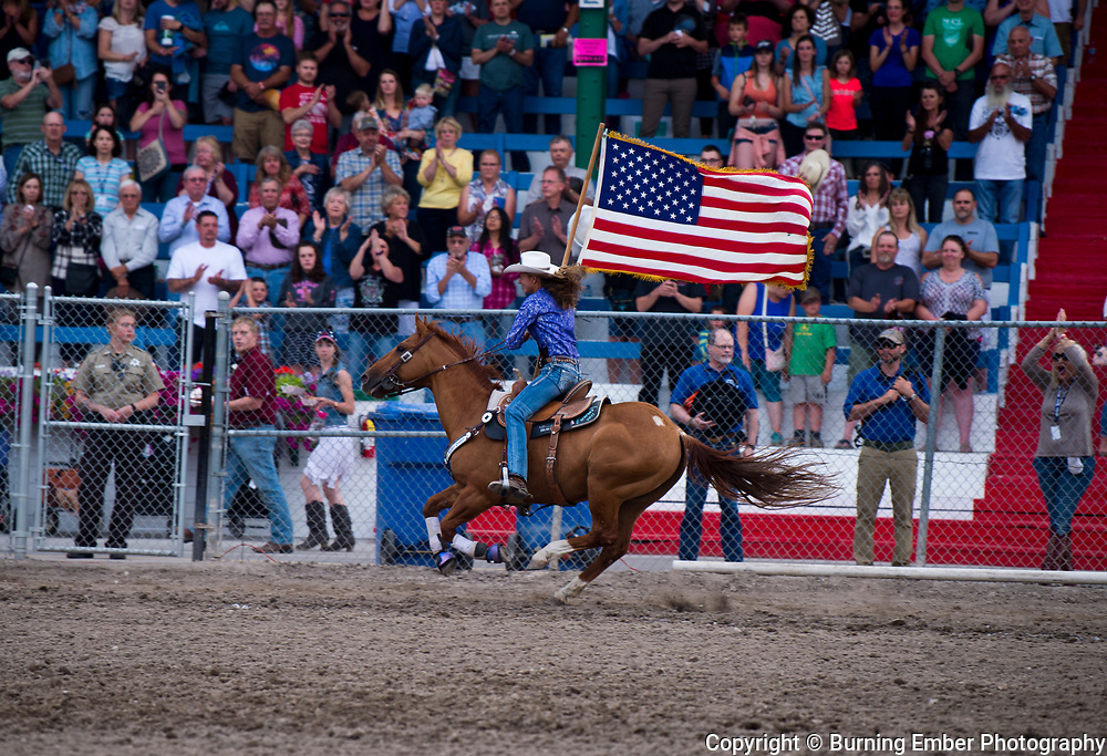 The Opening flags during the 2nd perf at the Northwest Montana Fair and  Rodeo Kalispell MT August 17th, 2018.  Photo by Josh Homer/Burning Ember Photography.  Photo credit must be given on all uses.