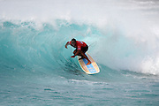 November 4th 2010: Duane Desoto of Hawaii locking into a Makaha barrel during the final day of competition of the ASP World Longboard Championship at Makaha Oahu-Hawaii. Photo by Matt Roberts/mattrIMAGES.com.au