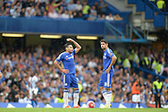 Radamel Falcao of Chelsea and Diego Costa of Chelsea look on dejected as they put the ball back on the spot after Joel Ward of Crystal Palace scores his sides 2nd goal to make it 1-2. Barclays Premier League, Chelsea v Crystal Palace at Stamford Bridge in London on Saturday 29th August 2015.<br /> pic by John Patrick Fletcher, Andrew Orchard sports photography.