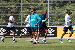 (L-R) Steven Bergwijn of PSV, Pablo Rosario of PSV, head of the youth department Ernest Faber of PSV, goalkeeper Eloy Room of PSV, Denzel Dumfries of PSV during a trainings session of PSV Eindhoven at the Herdgang on June 27, 2018 in Eindhoven, The Netherlands