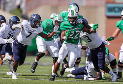 Oct 9, 2021; Huntington, West Virginia, USA; Marshall Thundering Herd running back Rasheen Ali (22) runs the ball during the first quarter against the Old Dominion Monarchs at Joan C. Edwards Stadium. Mandatory Credit: Ben Queen-USA TODAY Sports