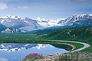 Alaska. Paxson. Summit Lake with a view towards Rainbow Mt on the Richardson Highway.