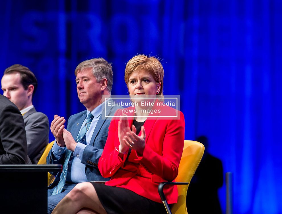 Pictured: SNP leader and First Minister Nicola Sturgeon at the opening of the conference.<br /> <br /> The first day of the SNP autumn conference at the SEC in glasgow.<br /> <br /> © Dave Johnston / EEm