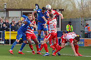 AFC Wimbledon defender Paul Kalambayi (30) winning header during the EFL Sky Bet League 1 match between AFC Wimbledon and Doncaster Rovers at the Cherry Red Records Stadium, Kingston, England on 9 March 2019.