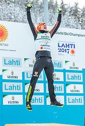 24.02.2017, Lahti, FIN, FIS Weltmeisterschaften Ski Nordisch, Lahti 2017, Nordische Kombination, Flower Zeremonie, im Bild Goldmedaillen Gewinner Johannes Rydzek (GER) jubelt // Gold Medalist Johannes Rydzek of Germany celebrate during Flower Ceremony of the Nordic Combined Competition of FIS Nordic Ski World Championships 2017. Lahti, Finland on 2017/02/24. EXPA Pictures © 2017, PhotoCredit: EXPA/ JFK