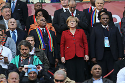 03.07.2010, CAPE TOWN, SOUTH AFRICA,  FIFA President Sepp Blatter, South African President Jacob Zuma, German Chancellor Angela Merkel and Dr Irwin Khose (LOC) during the Quarter Final, Match 59 of the 2010 FIFA World Cup, Argentina vs Germany held at the Cape Town Stadium EXPA Pictures © 2010, PhotoCredit: EXPA/ nph/  Kokenge