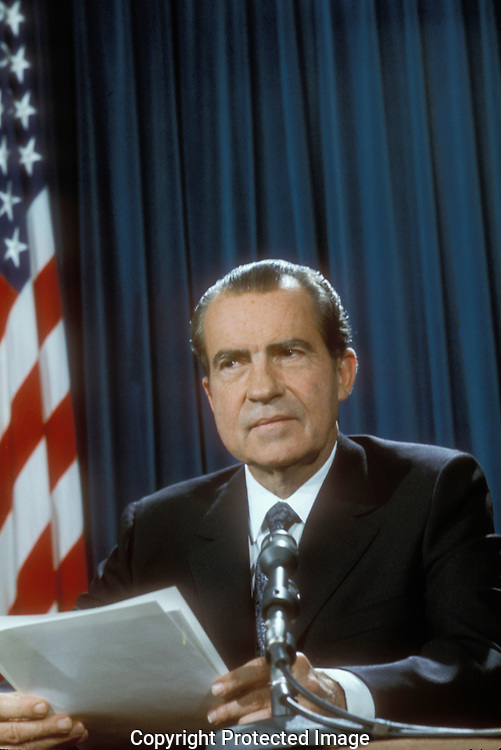 .President Nixon makes a televison address to the nation in March 1971.Photograph by Dennis Brack  BS B 15