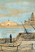 Postcard from Russia showing anti-aircraft gun placemnent in St petersburg (leningrad) circa 1942