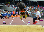 USA long jumper Funmi Jimoh during the Sainsbury's Anniversary Games at the Queen Elizabeth II Olympic Park, London, United Kingdom on 25 July 2015. Photo by Mark Davies.