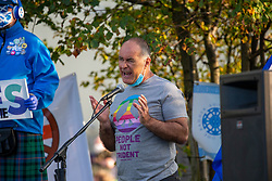 17SEP20 Tommy Sheridan addresses the demo.  All Under One Banner demo outside the BBC at Pacific Quay.