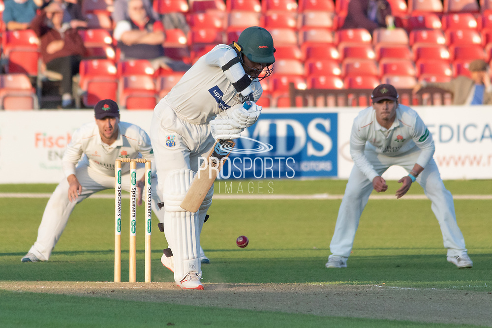 Hassan Azad batting during the Specsavers County Champ Div 2 match between Leicestershire County Cricket Club and Lancashire County Cricket Club at the Fischer County Ground, Grace Road, Leicester, United Kingdom on 25 September 2019.