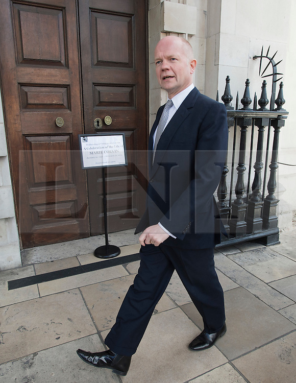 © Licensed to London News Pictures. 16/05/2012. London, UK. Foreign Secretary William Hague arriving at St Martin in the Fields church, London for a memorial service held for American Sunday Times journalist Marie Colvin, who died covering the siege of Homs in Syria.  Photo credit : Ben Cawthra/LNP