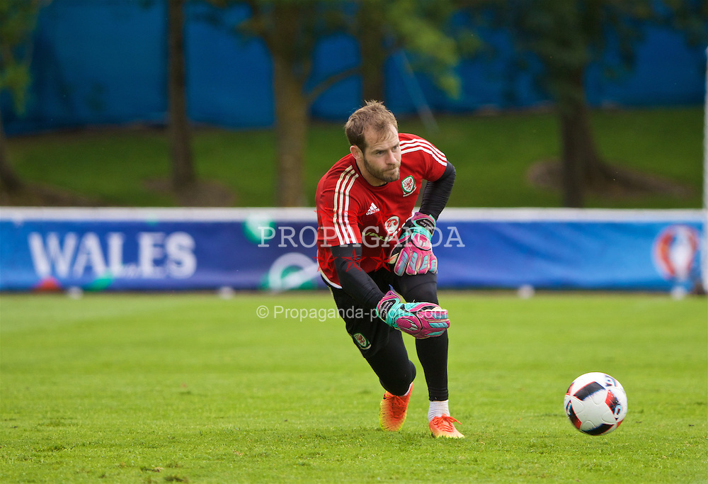 DINARD, FRANCE - Monday, July 4, 2016: Wales' goalkeeper Owain Fon Williams during a training session at their base in Dinard as they prepare for the Semi-Final match against Portugal during the UEFA Euro 2016 Championship. (Pic by David Rawcliffe/Propaganda)