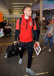 NANNING, CHINA - Monday, March 19, 2018: Wales' Chris Gunter arrives at Nanning International Airport for the 2018 Gree China Cup International Football Championship. (Pic by David Rawcliffe/Propaganda)