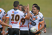 Wests Tigers players celebrate a try in the NRL Trial, Vodafone Warriors v Wests Tigers, Rotorua Stadium, Rotorua, Sunday, March 01, 2020. Copyright photo: Kerry Marshall / www.photosport.nz