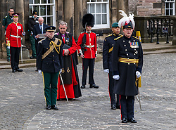Installation of Edinburgh Castle Govenor, Edinburgh Castle, Edinburgh, Scotland, United Kingdom 23  June 2021: <br /> Installation as Governor of Edinburgh Castle: the dress rehearsal takes place for the ceremony which will be held tomorrow, two years after the handover of the position to Maj Gen Alastair Bruce of Crionaich.  The ceremony was delayed due to Covid-19. The role of Governor is a historic one, dating back to 1067. Maj Gen Bruce is also a Sky News commentator. Representative form all Scottish military regiments are involved, in a ceremony that takes a new curtailed form only within the castle due to Covid restrictions. Pictured: The new Governor requests permission to enter the castle.<br /> Sally Anderson | EdinburghElitemedia.co.uk