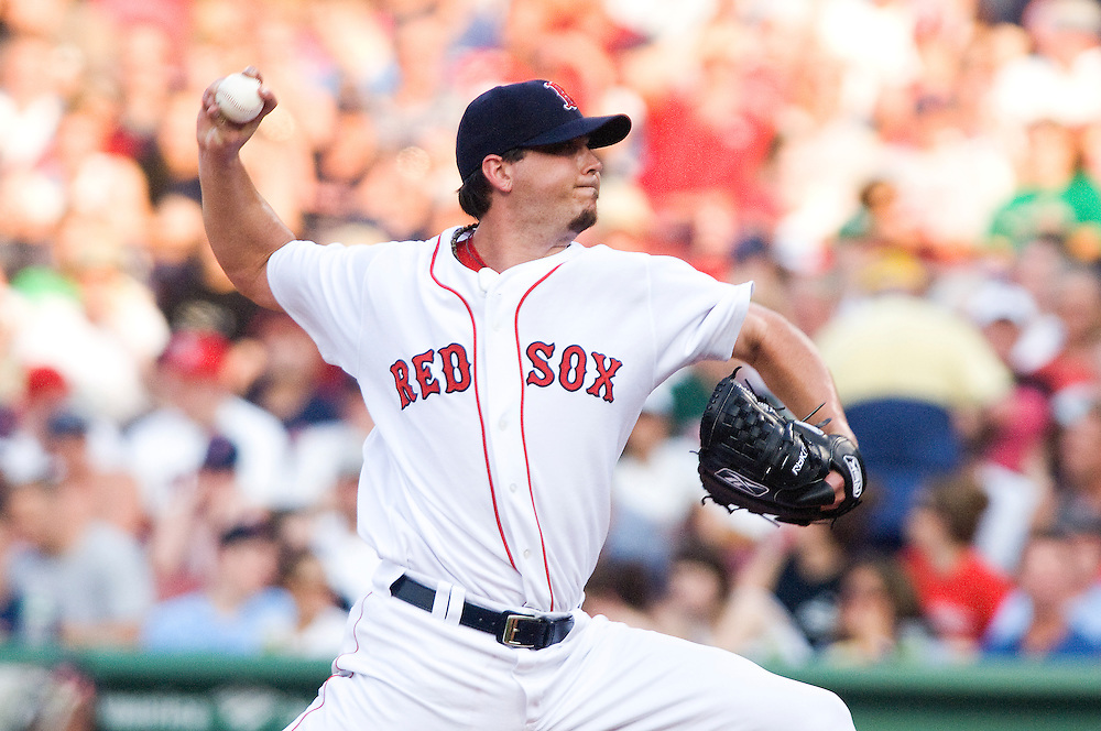 10 June 2008: Boston Red Sox starting pitcher Josh Beckett throws a pitch during the Baltimore Orioles win 11-8 over the Boston Red Sox at Fenway Park in Boston, MA.