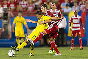 FRISCO, TX - SEPTEMBER 29:  Jairo Arrieta #25 of the Columbus Crew protects the ball from Matt Hedges #24 of FC Dallas on September 29, 2013 at Toyota Stadium in Frisco, Texas.  (Photo by Cooper Neill/Getty Images) *** Local Caption *** Jairo Arrieta; Matt Hedges