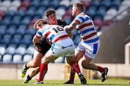 Bradford Bulls centre James Bentley (20) goes into the tackle during the Kingstone Press Championship match between Rochdale Hornets and Bradford Bulls at Spotland, Rochdale, England on 18 June 2017. Photo by Simon Davies.