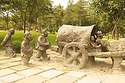 China, Xian Shaanxi, Ox and waggon statue