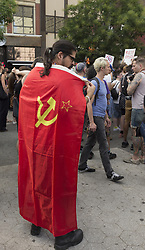 August 13, 2017 - New York, New York, United States - Few hundreds socialist demonstrators attend rally against nationalist protest in Charlottesville, Virginia ahead of President Trump visit on Union Square (Credit Image: © Lev Radin/Pacific Press via ZUMA Wire)
