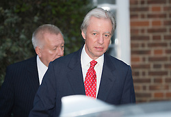© London News Pictures. 03/07/2012. London, UK. Marcus Agius leaving his home in Chelsea, West London on July 3, 2012. Marcus Agius, who resigned from his position as Chairman of Barklays Bank following a rate-setting scandal that led to £290m in fines, will return to Barclays bank as Chairman following an announcement that Bob Diamond will leave his position as Chief Executive (CEO) . Photo credit: Stephen Simpson/LNP.