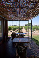 The outdoor dining area at Bodega Ruca Malen in the Luján de Cuyo area of Mendoza, Argentina, looks over Malbec vines. The bodega offers a five-course tasting menu with pairing of it's own wines.