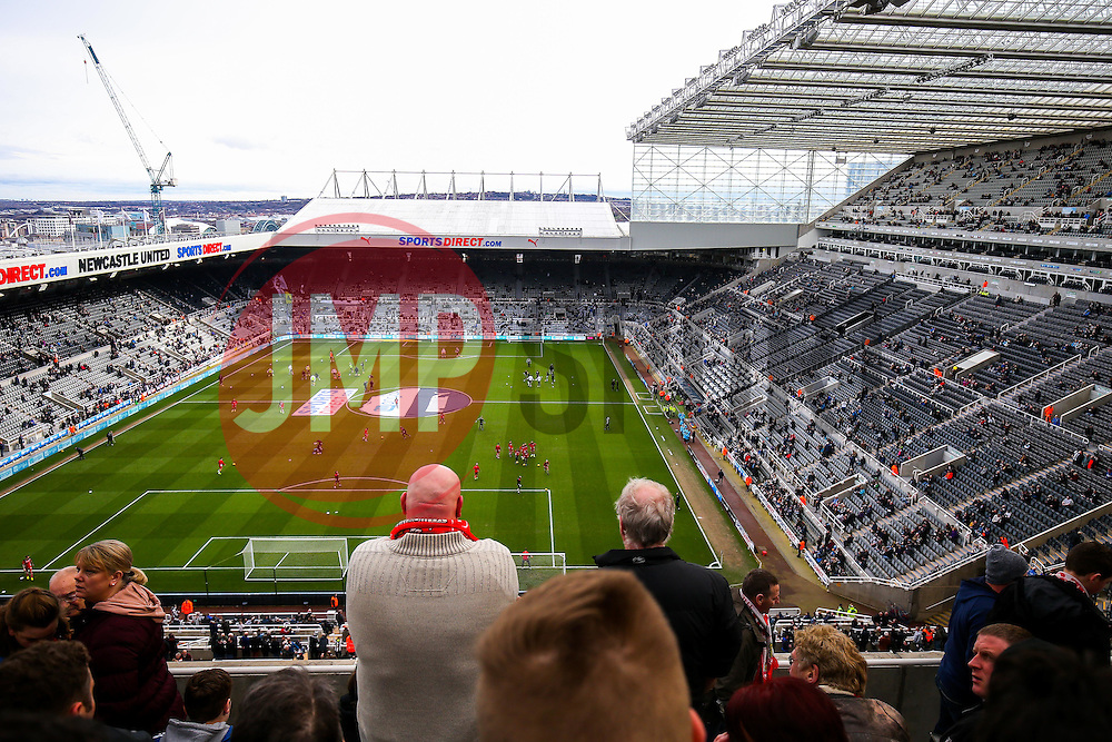 Bristol City fans view during the warm up in the away stand - Rogan Thomson/JMP - 25/02/2017 - FOOTBALL - St James' Park - Newcastle, England - Newcastle United v Bristol City - Sky Bet EFL Championship.