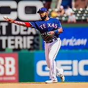 Aug 01 2019, Arlington, TX  U.S.A. Texas shortstop Elvis Andrus (1) makes a play at shortstop during the MLB game between the Seattle Mariners and the Texas Rangers 11-3 lost at Globe Life Park in Arlington,TX. Thurman James / CSM