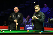 Jackson Page, the 16 year old amateur from South Wales during his 2nd round match against Stuart Bingham of England (l).  ManBetx Welsh Open Snooker 2018, day three at the Motorpoint Arena in Cardiff, South Wales on Wednesday 28th February 2018.<br /> pic by Andrew Orchard, Andrew Orchard sports photography.