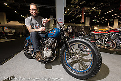 Jordan Dickinson's Union Speed SourKraut 1947 Harley-Davidson EL 74 inch custom Knucklehead in the <br /> <br /> AMD World Championship of Custom Bike Building in the Intermot Customized hall during the Intermot International Motorcycle Fair. Cologne, Germany. Saturday October 6, 2018. Photography ©2018 Michael Lichter.