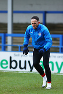 Wigan Athletic midfielder Dan Gardner (15) warm  up during the EFL Sky Bet League 1 match between Rochdale and Wigan Athletic at the Crown Oil Arena, Rochdale, England on 16 January 2021.