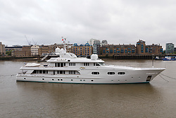 © Licensed to London News Pictures. 16/05/2018. London, UK. Superyacht, Lady M II is seen anchored on the River Thames, after arriving yesterday and shortly before passing under Tower Bridge this morning. The 164 feet long superyacht, Lady M II (previously named Lady M) is rumoured to be owned by politician and businessman, Lord Ashcroft. A different superyacht, called Lady M visited Glasgow and Cumbria last year and was reported to be owned by Russia's richest Billionaire, Alexi Mordashov. Lady M II sleeps up to 11 guests in 6 rooms and is also capable of carrying up to 12 crew onboard. Lady M II was designed by Donald Starkey with various luxuries onboard, including a deck jacuzzi and is advertised for charter at USD180,000 per week plus expenses. Photo credit: Vickie Flores/LNP
