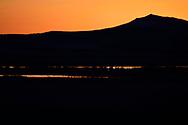 Landscape photography of Semi-desert lake wetlands taken in sunset, Inner Mongolia, China