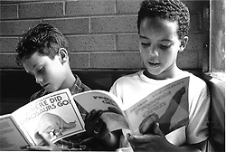 Primary school boys sitting together reading books,