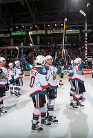 KELOWNA, CANADA - FEBRUARY 10: Nick Merkley #10 and Rodney Southam #17 of the Kelowna Rockets salute fans at centre ice after the win against the Vancouver Giantson February 10, 2017 at Prospera Place in Kelowna, British Columbia, Canada.  (Photo by Marissa Baecker/Shoot the Breeze)  *** Local Caption ***
