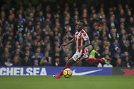 Saido Berahino of Stoke City in action. <br /> Premier league match, Chelsea v Stoke city at Stamford Bridge in London on Saturday 30th December 2017.<br /> pic by Kieran Clarke, Andrew Orchard sports photography.