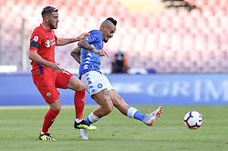 September 15, 2018 - Marek Hamsik of SSC Napoli is challenged by Jordan Veretout of ACF Fiorentina during the Serie A match between Napoli and Fiorentina at Stadio San Paolo, Naples, Italy on 15 September 2018. Photo by Giuseppe Maffia. (Credit Image: © AFP7 via ZUMA Wire)