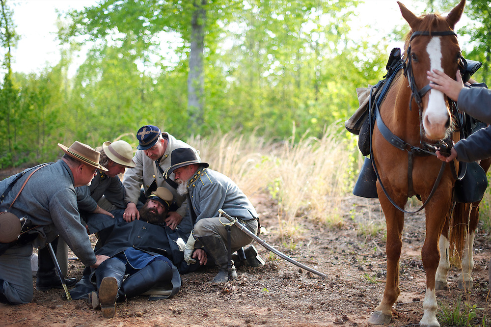 Confederate soldiers recreated the death of General Stonewall Jackson during the Chancellorsville 150th reenactment in Spotsylvania, VA on May 4, 2013.