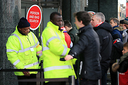 25th November 2017 - Premier League - Manchester United v Brighton & Hove Albion - A sign advises fans there will be a person and bag search at the entrance to the club megastore - Photo: Simon Stacpoole / Offside.