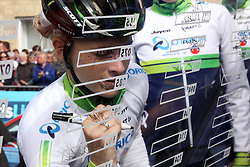 ©Licensed to London News Pictures. 07/05/2014<br /> Oundle, Northamptonshire. Annette Edmondson signing in for Orica AIS at the start of the 1st stage of the 1st Friends Womens Tour of Britain<br /> Photo credit: Steven Prouse/ LNP